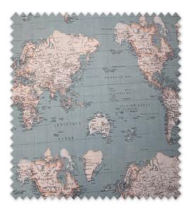 Loneta Estampada Mapa Mundi Colores 2,80m ancho