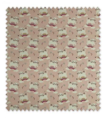 Algodón 100% Unicornios Arcoíris Rosa