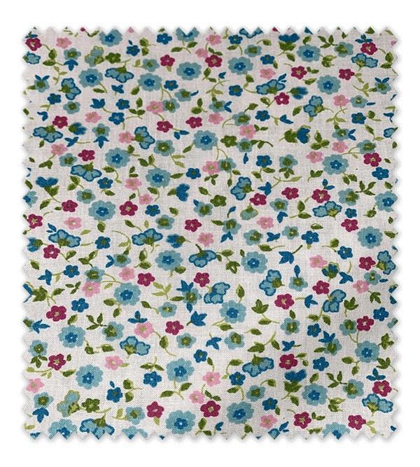 Algodón Estampado Flores Azules