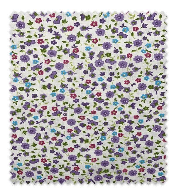 Algodón Estampado Flores Moradas