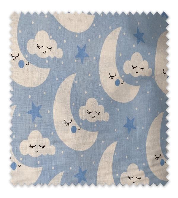Algodón Estampado Lunas Azul
