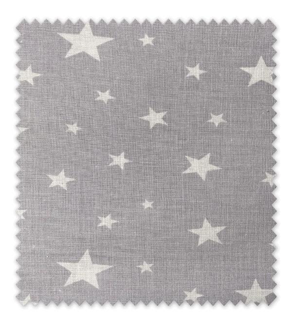 Algodón Estampado Estrella blanca fondo Gris