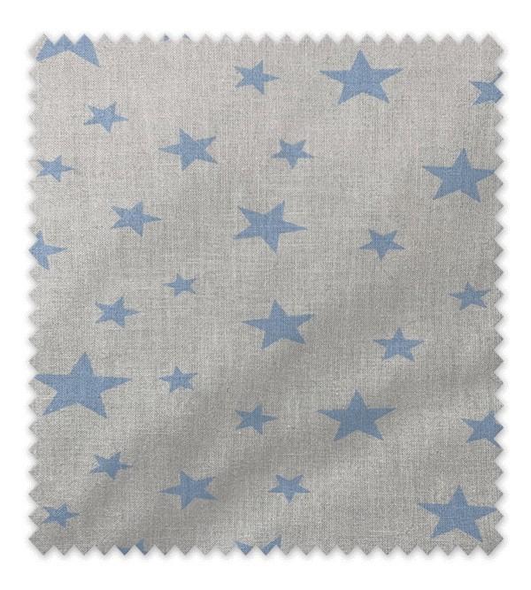 Algodón Estampado Estrella Azul Fondo Blanco