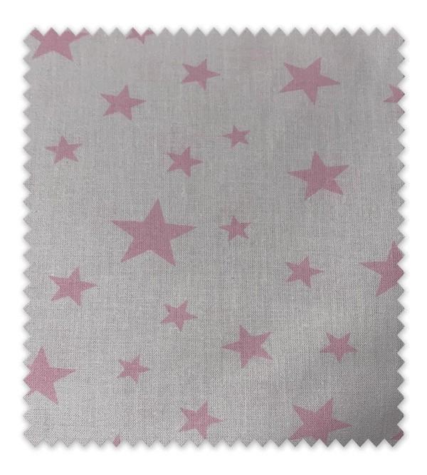 Algodón Estampado Estrella Rosa Fondo Blanco