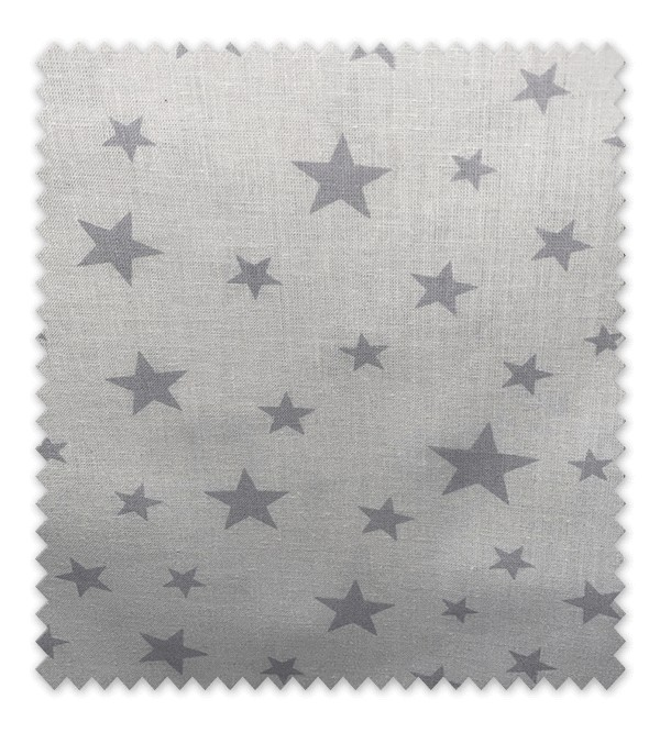Algodón Estampado Estrella Gris Fondo Blanco