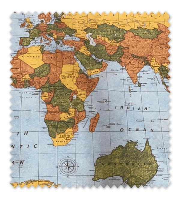 Tela loneta estampada Mapa Mundi Multicolor