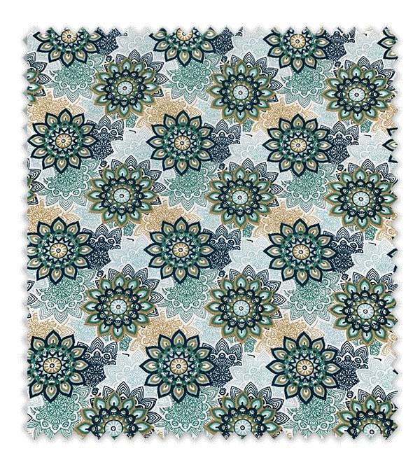 Algodón Estampado Flores Geométricas Verdes