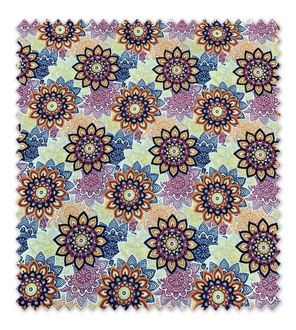 Algodón Estampado Flores Geométricas Moradas