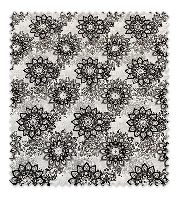Algodón Estampado Flores Geométricas Negras