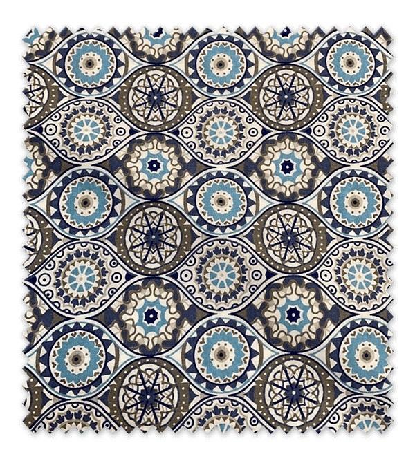 Algodón Estampado Formas Geométricas Azul