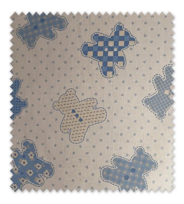 Algodón Estampado Tedy Osito Azul