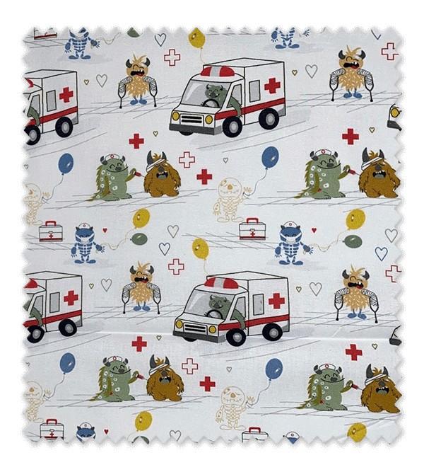 Algodón Estampado Ambulancias Medical