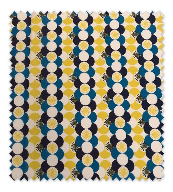 Algodón Estampado Círculos Azul y Amarillo