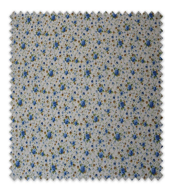 Telas loneta estampada flores azules