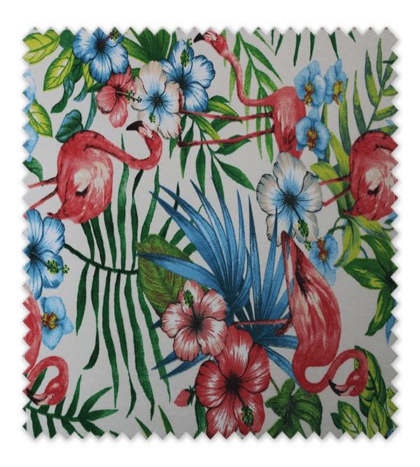 Telas loneta estampada flor flamencos