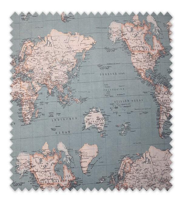 Telas loneta estampada mapa mundi azul