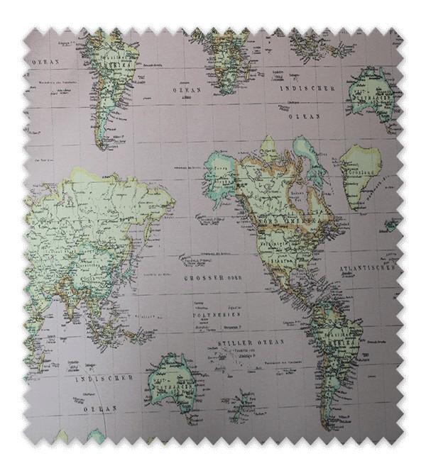 Telas loneta estampada mapa mundi rosa