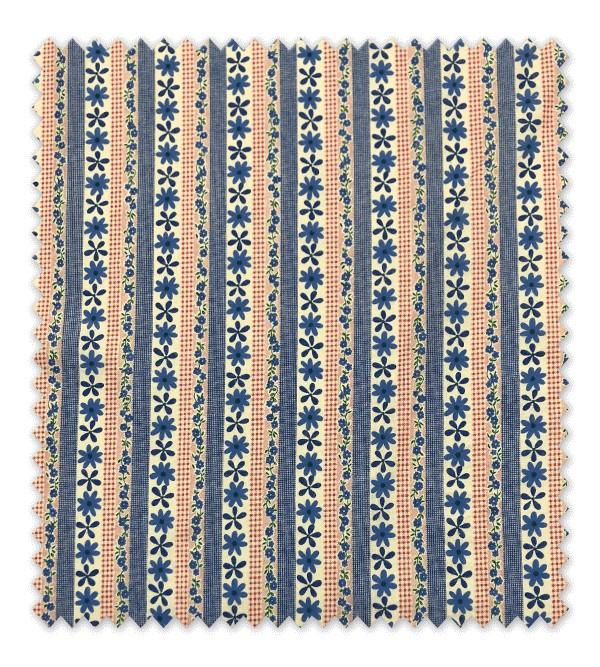 Flores y líneas Rusticas Azul