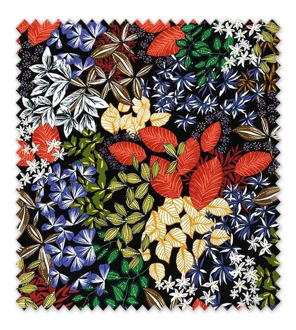Viscosa Flores Fondo Negro
