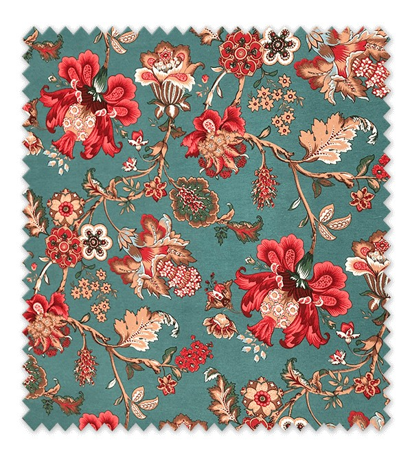 Tela loneta flores ornamentales fondo Turquesa