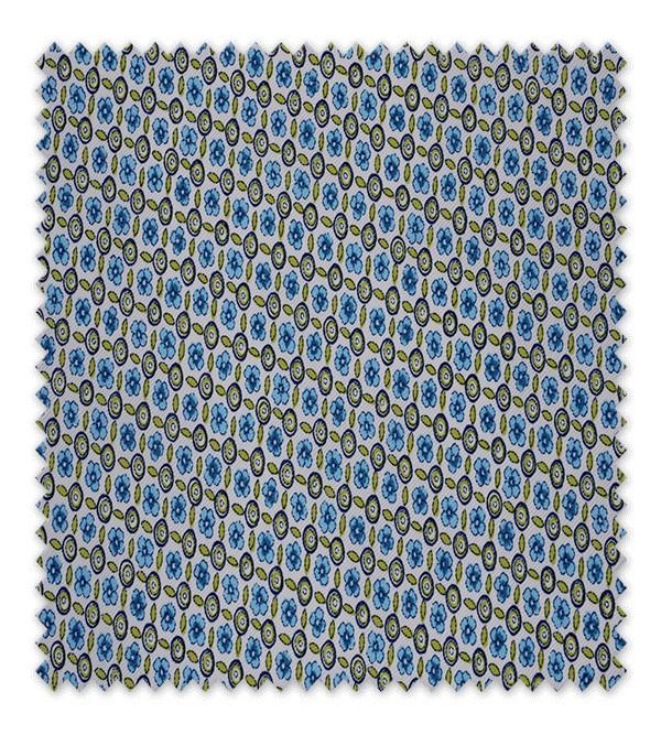 Pique estampado Flores Geométricas Azul y Verde