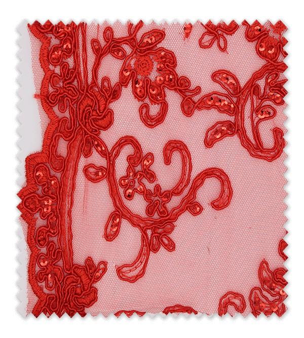 Encaje Brillo Rojo
